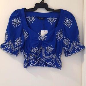 Zara woman blue and white Top XS